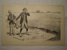 "ANTIQUE CHARLES DANA GIBSON MR. PIPP BOOK PRINT ""A DAY AT GOLF"" SAND TRAP CLUBS"