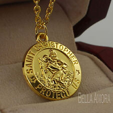 "14ct Placcato in Oro Giallo St Christopher Ciondolo con 18"" CATENA D'ORO Pltd Collana"