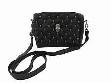 GOTHIC SKULL Soft Faux Leather Handbag Black Metal Stud Skull Head Crystal Bag