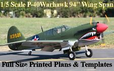 "P-40 Warhawk 1/5 Scale 94"" WS RC Airplane Full Size PRINTED Plans & Templates"