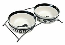 x2 Ceramic Dog Bowls with Black Stand Eat on Feet Water & Food Design 13cm Bowls