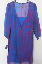 New Women's Express Tunic Top Blue & Purple Sheer Animal Print Blouse Sz Medium