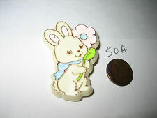 VINTAGE HALLMARK EASTER BUNNY WITH FLOWERS PIN BROOCH