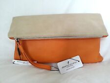 Alberta DiCanio Made in Italy Pia Foldover Clutch Bag Orange/Natural Leather NWT