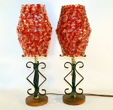 Pair of Mid Century Rare Table Lamp Ribbon Spun Lucite Wood Base Wrought Iron