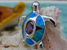 STERLING SILVER HIGH POLISHED BLUE OPAL SEA TURTLE WITH TANZANITE CZ PENDANT