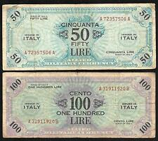ITALY -  WWII - Allied Military Currency (AMC) 50 & 100 Lire Notes - 1943A