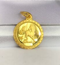 24K Solid Yellow Gold Cute Animal Sign Round Horse Charm/ Pendant. 1.89 Grams