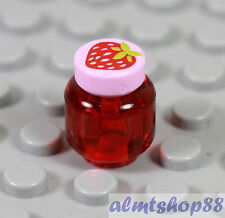 LEGO - Strawberry Jam Jar Minifigure Trans Red Pink Jelly Kitchen Food Friends