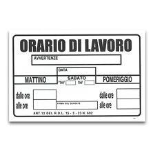 ★CARTELLO TARGA ORARI DI LAVORO UFFICIO ATTIVITA' SEGNALETICA PVC 20 X 30 CM★