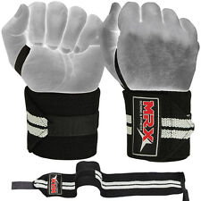 Weight Lifting Wrist Wraps Support Fitness Training Gym Bandage Straps Grey 18""