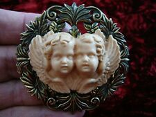(CL49-8) Twin Cherubs angels tan ivory CAMEO Pin Pendant Jewelry Necklace