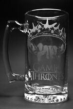 Game of Thrones Crown glass etched beer stein mug - 24 oz!