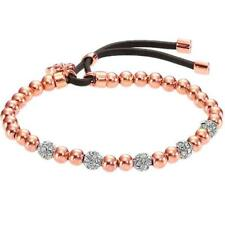Crystal Bead Stretch Lock Rose Gold Plated Lock Pendant Gold Brand Bracelets