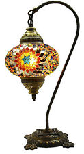 Great Style Turkish Moroccan Mosaic Table Bedside Tiffany Swan Lamp Light, Multi