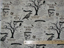 Something Wicked Oct 31st Skeleton Halloween Fabric Allover by the 1/2 Yd #84380