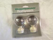 "(1) Pair Crystal Finials Window Dimensions Rod System NRFP New Fits 1/2"" - 5/8"""