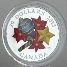 Canada 2013 $20 Venetian Glass Candy Cane, 1 oz. Pure Silver Proof Coin