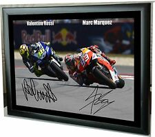 "Valentino Rossi Marc Marquez MotoGP Framed Canvas Print Signed Tribute ""Gift"""