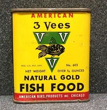 "[45423] VINTAGE TROPICAL FISH FOOD TIN ""AMERICAN 3 VEES NATURAL GOLD FISH FOOD"""