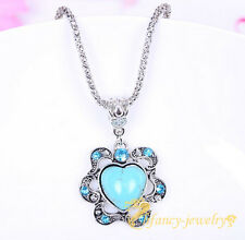 Fashion Jewelry Turquoise Tibet Silver Heart Flower Charm Chain Necklace Pendant