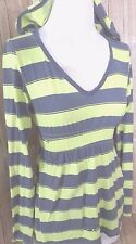 Volcum Women's M Casual Knit Top Yellow Gray Striped Logo Hooded Long Sleeves
