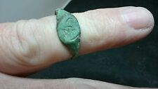 Unique little Roman Bronze inscribed ring Uncleaned but very wearable L410