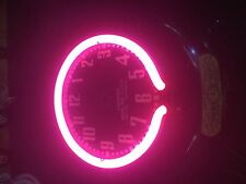 canadian neon ray small clock inner neon tube pink color electric  clock vintage