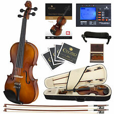 Cecilio CVN-300 Ebony Fitted Solid Wood Violin + Tuner and Lesson Book, Size 1/2