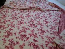 CRANBERRY COLORED ROSES ON WHITE DOUBLE FULL BED FLANNEL TOP SHEET PILLOW CASE