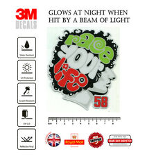Marco Simoncelli 58 race your life Laminated 3M Reflective Decals Sticker F305