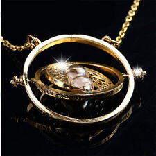 Premium Rotating Time Turner Necklace Gold Hourglass Unique Gift