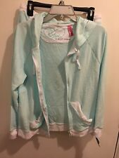 New Wt Betsey Johnson Blue W/ White Trim Baby Terry Large Zipper Hoodie/ Shorts