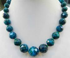 Charming!! 10-20mm Faceted Azurite Gemstone Phoenix Stone Round Beads Necklace