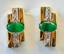 EMERALD DIAMOND EARRINGS. BRIGHT GREEN EMERALDS IN 14K GOLD. NATURAL STONES.