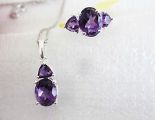 Amethyst Ring & Pendant Set, with 18 inch Chain, in Sterling Silver, Ring sz 7