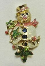Kirks Folly Snowman Pin Brooch Gold Glitter Enamel Christmas