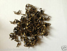 100 x Bronze Plated Calottes Necklace End Tips Beads Clamshells approx 8 x 4 mm