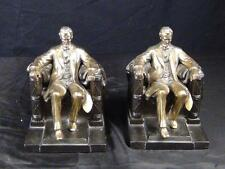 Antique Heavy Abraham Lincoln Bronze Brass Bookends Jennings Brothers