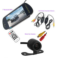 "7"" HD Car Rear View Bluetooth Mp5 Mirror Monitor+Wireless Parking Backup Camera"
