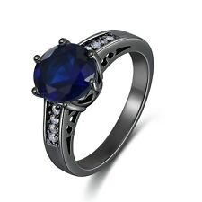 Womens Size 8 Round Cut Blue Sapphire Black Rhodium Plated Engagement Ring Halo