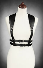Restyle Black Wide Strap Faux Leather Steampunk Underbust Gold Buckled Harness