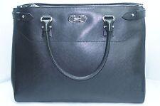 Salvatore Ferragamo Black Womens Bag Batik Leather Satchel Saffiano Handbag NWT