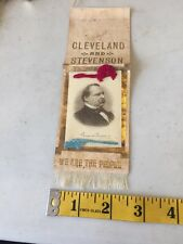 Rare 1800s We Are The People Cleveland Stevenson Political Ribbon Badge