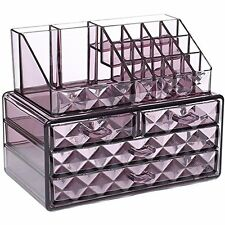 Acrylic Purple Diamond Jewelry Makeup Organizer Case Box Storage Display Drawer.