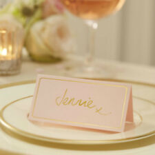 10 x Pastel Pink & Gold Foil Place Cards Wedding Table Place Name Decor