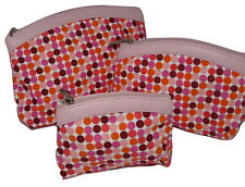 BNWT PINK SET OF 3 COSMETIC MAKE UP BAGS RETRO TRAVEL HOLIDAY WASH BAGS NEW