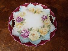 YELLOW ROSES HANDLED CAKE/COOKIE PLATE/PLATTER P.T. BAVARIA GERMANY CHINA NR