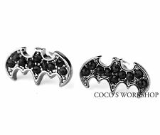 QUALITY BLACK CRYSTAL BATMAN EARRINGS MENS WOMENS PIERCED STUD EARRINGS