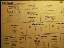1956 Hudson Hornet Special 250 CI V8 SUN Tune Up Chart Excellent Condition!